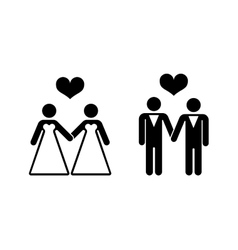 Gay wedding icons over white vector image