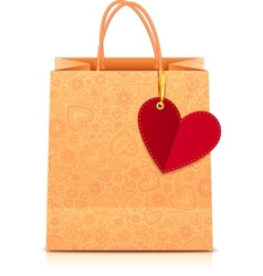 Ornate paper shopping bag with heart label vector image vector image
