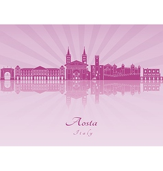 Aosta skyline in purple radiant orchid vector image vector image