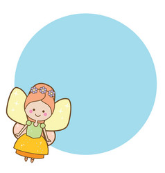 beautiful little flying fairy character blue vector image vector image
