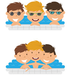 cute cheerful boys relaxing in the pool vector image