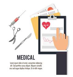 Hand with clipboard scalpel scissors medical vector