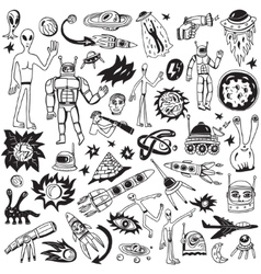 space - doodles collection vector image vector image