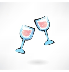 Two wineglasses grunge icon vector
