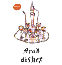 arab silver dishes vector image