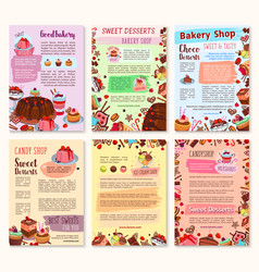 bakery dessert sweets and ice cream posters vector image vector image