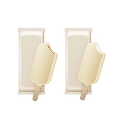Bitten Ice Cream in White Chocolate Glaze on Stick vector image vector image