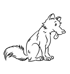 dog cartoon - line drawn vector image vector image