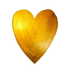 Foil Paint Heart on White Background Love vector image