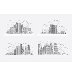 Line drawing skyscrapers contour cityscape vector image vector image