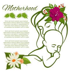 mom and baby line silhouette and flowers - vector image