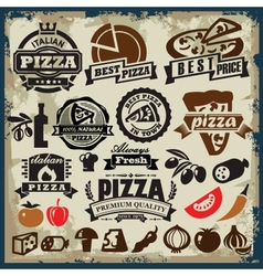 pizza sign set vector image vector image