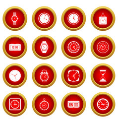 time and clock icon red circle set vector image vector image