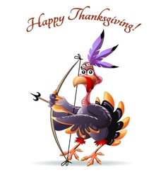 Turkey with bow thankgiving greeting card vector image