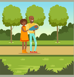 young couple with newborn baby in park vector image vector image