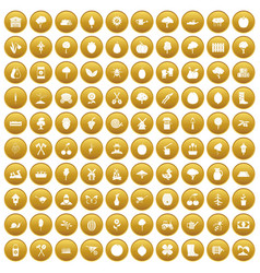 100 agriculture icons set gold vector