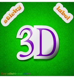 3D icon sign Symbol chic colored sticky label on vector
