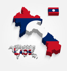 3d laos map vector image