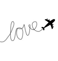 Airplane flying dash line word love in sky vector