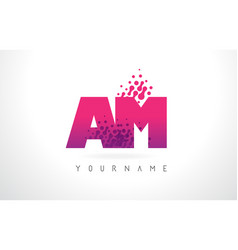 Am a m letter logo with pink purple color and vector