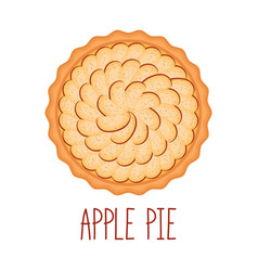 Apple pie with cinnamon on white background top vector