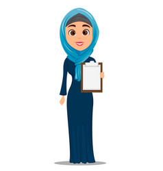 Arabic woman holding blank clipboard cute vector