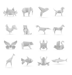 Asian creative origami animals collection vector