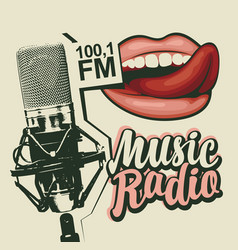 Banner for music radio with microphone and lips vector