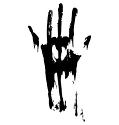 Black smeared handprint vector