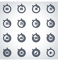 black stopwatch icon set vector image