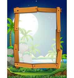 Border design with fullmoon night vector