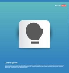 boxing glove icon - blue sticker button vector image