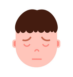 Boy head emoji with facial emotions avatar vector