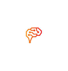 brain idea connect technology logo vector image