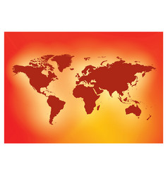 Bright red background with dark red map world vector