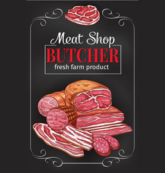 Butcher shop blackboard with meat and sausage vector