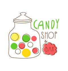 Candy shop logo colorful hand drawn label vector