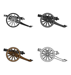 Cannon icon in cartoon style isolated on white vector