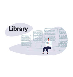 casual obese man sitting on couch in library vector image