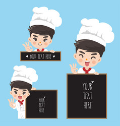 chef holds a signage vector image