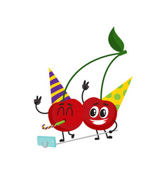 cherry characters making selfie at birthday party vector image