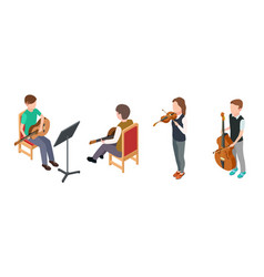 children musicians isometric characters with vector image
