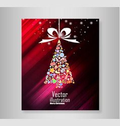 christmas tree icon for christmas card vector image