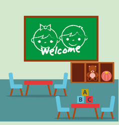 classroom kinder chalkboard tables and chairs vector image