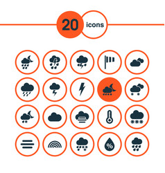 Climate icons set with drizzle lightning snowy vector