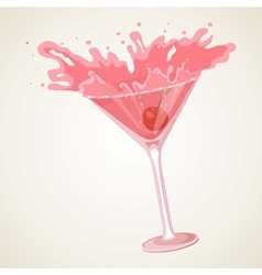 Cocktail with splash vector