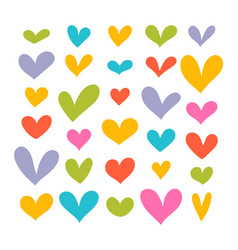 collection funny hand drawn hearts cute vector image