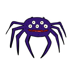 Comic cartoon halloween spider vector