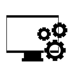 computer monitor gears vector image