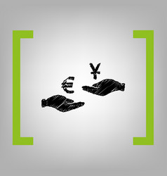 currency exchange from hand to hand euro and yuan vector image